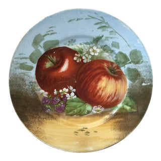 1900s French Porcelain Limoges Apples Plate For Sale