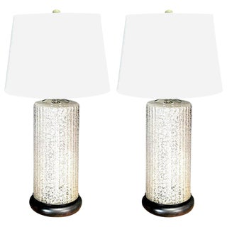 Massive Pair of Venini Murano White Pulegoso Glass Column Lamps