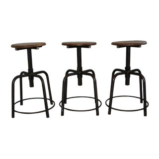 1960s Vintage French Industrial Adjustable Stools-Set of 3 For Sale