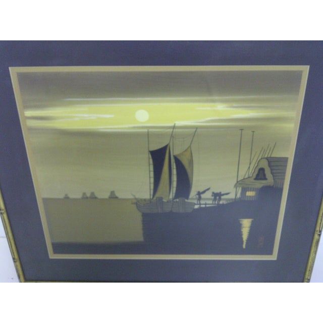 "Mid-Century Modern ""Sailboats at Dusk"", Original Print For Sale - Image 3 of 6"