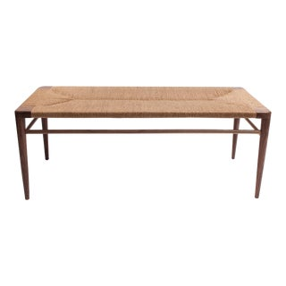 Hand Woven Rush and Walnut Bench by Smilow Furniture For Sale