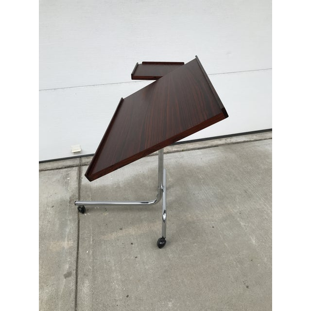 Chrome Danish Rosewood Adjustable Service Cart For Sale - Image 7 of 9