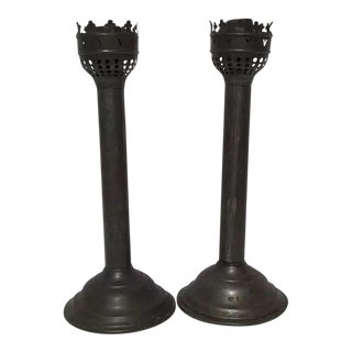 Antique a Victorian-Era Late 19th Candleholders Made of Iron-With Patina - a Pair For Sale