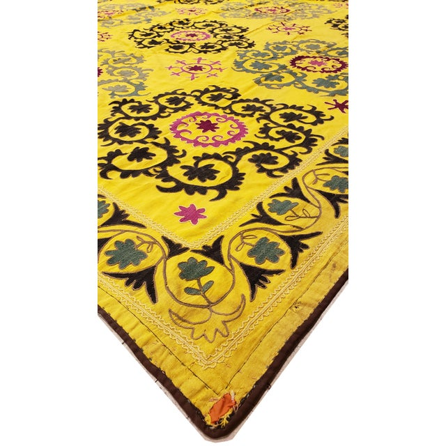 Asian Late 20th Century Suzani Textile Rug - 6′2″ × 8′2″ For Sale - Image 3 of 9