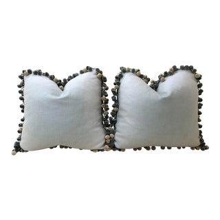 """Robert Allen """"Endless Breeze"""" Fabric and Scalamandre Silk Trim Pillows - a Pair For Sale"""