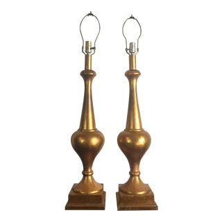 Grand Scale Gold Leaf Polychrome Lamps - a Pair For Sale