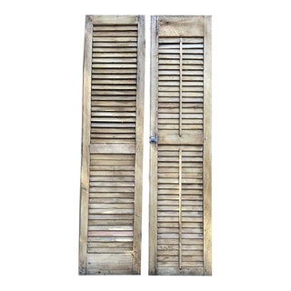 Vintage New Orleans Style Plantation Shutters - Set of 2 For Sale