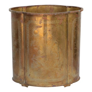 Chinoiserie Etched Brass Wastebasket For Sale
