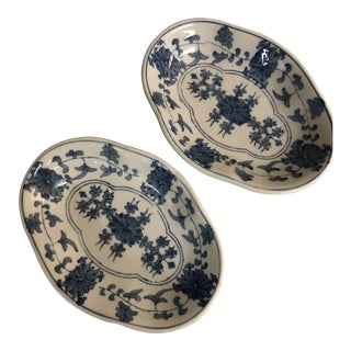 Asian Style Blue & White Bowls - a Pair For Sale