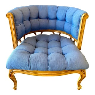 1950s Vintage Curved Tufted Blue Upholstered Armchair For Sale