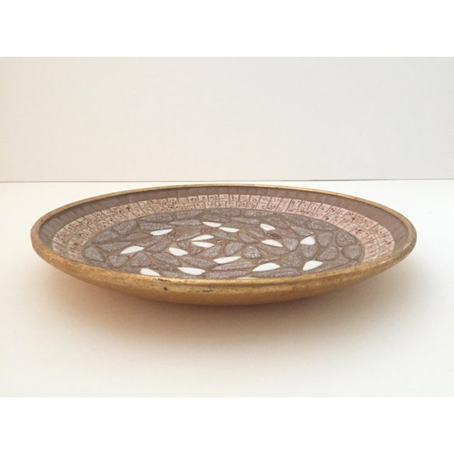 Vintage Mid Century Modern Handcrafted Multi Tone Brown Mosaic Tile Large Bowl For Sale - Image 4 of 9