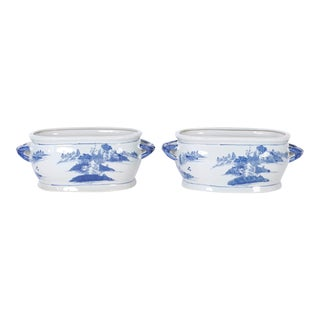 Chinese Blue and White Porcelain Planters - A Pair For Sale
