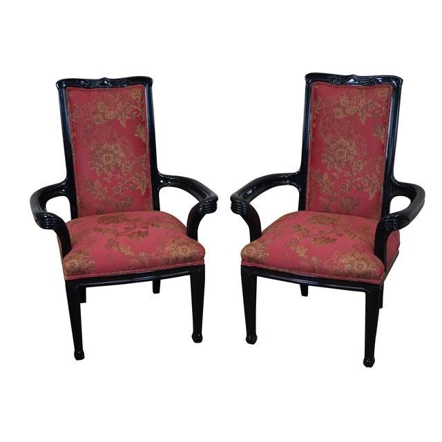 Ebonized Art Nouveau Style Arm Chairs - Pair - Image 1 of 10