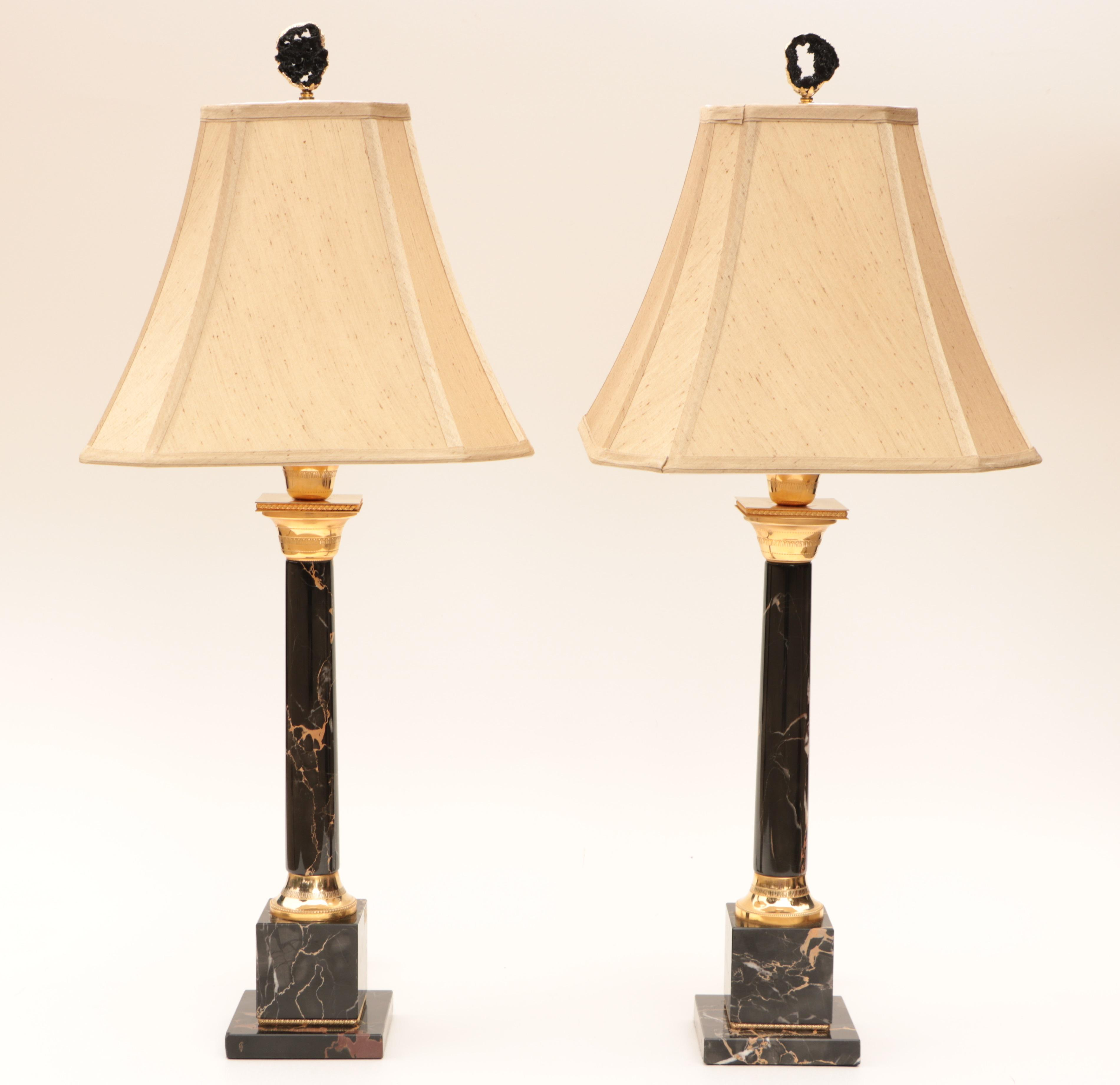 Portoro Black Marble Table Lamps A Pair Chairish