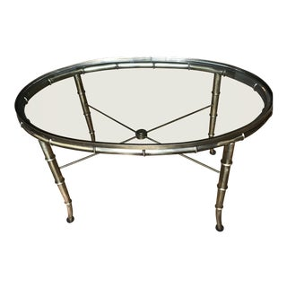 Mastercraft Faux Bamboo Brass and Glass Cocktail Table For Sale