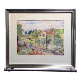 1949 Vintage David Burliuk French Countryside Watercolor Drawing For Sale