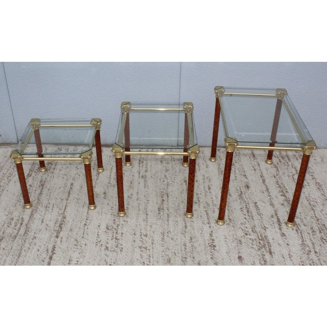 Mid 20th Century 1980s Italian Brass Nesting Tables For Sale - Image 5 of 11