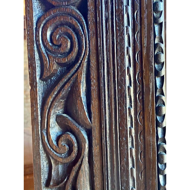 19th Century 1880 Antique Gothic Solid Oak Bookcase For Sale - Image 5 of 11