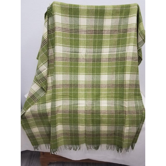 Merino Wool Throw Greens Brown and White Plaid - Made in England For Sale - Image 4 of 11