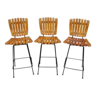 Vintage Arthur Umanoff Iron & Wood Slat Bar Stools Chairs -Set of 3