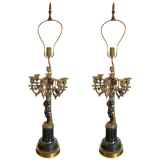 Pair of Antique Bronze Cherub Candelabras on Marble Vases With Custom Shades For Sale