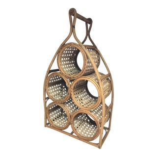 Vintage 1970s Bamboo Bottle Holder For Sale