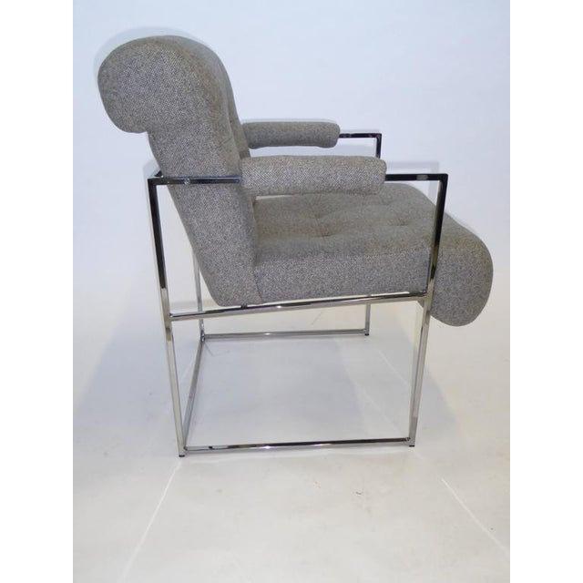 Set of 8 Modern Milo Baughman Thin Line Armed Dining Chairs For Sale In Miami - Image 6 of 11