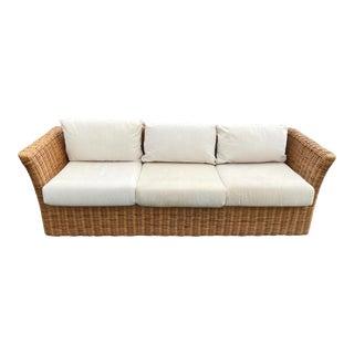 Vintage Coastal Rattan Sofa For Sale