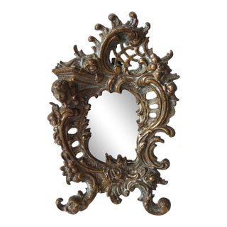 Late 19th Century French Louis XV Rococo Bronze Mirror For Sale