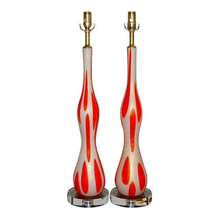 Mid-Century Murano Glass Lamps in Orange & White For Sale