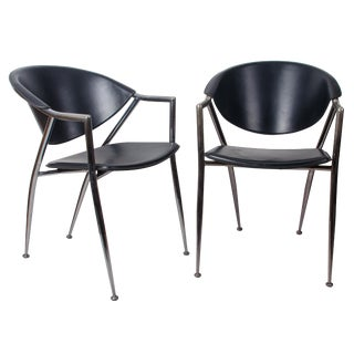 Calligaris Chrome and Black Leather Chairs - a Pair