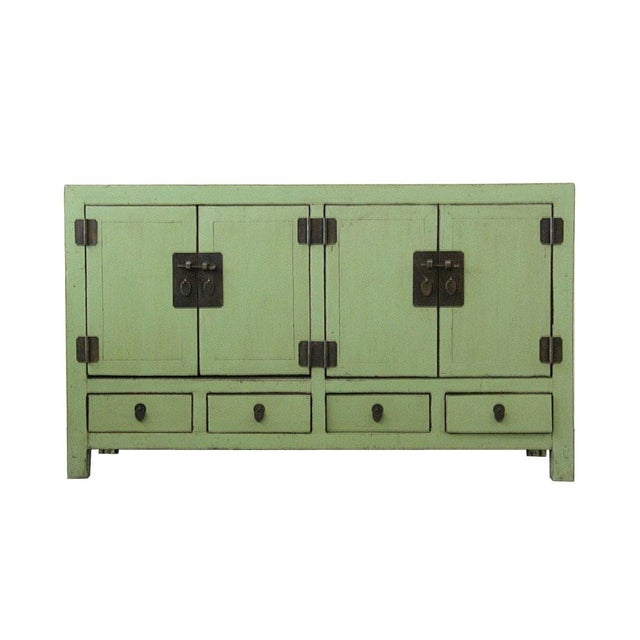 Antique Chinese Light-Green Lacquered Sideboard For Sale