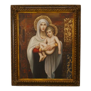 Italian Renaissance Madonna & Child Painting For Sale