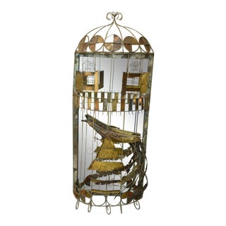 1970's Mid-Century Modern Curtis Jere Wild and Funky Bird Cage Mirror For Sale