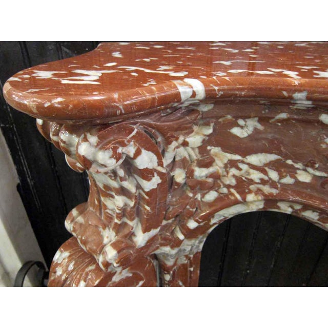 Italian Mixed Red Gray & White Marble Mantle For Sale - Image 6 of 9