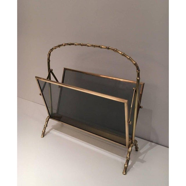 Faux Bamboo Bronze Magazine Rack by Maison Baguès, Circa 1940 - Image 2 of 11
