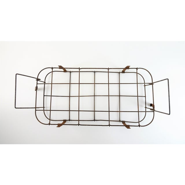 Brown 1930s Rustic Wire Basket With Handle For Sale - Image 8 of 11