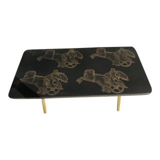 Piero Fornasetti Bighe Neoclassical Coffee Table For Sale