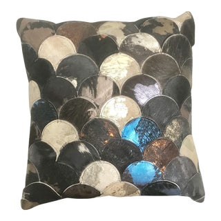 "22"" Metallic Cowhide Leather Multicolor Fish Scale Design Pillow For Sale"