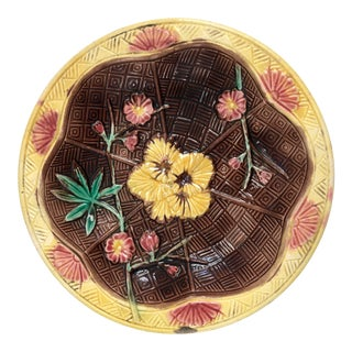 19th Century Antique French Majolica Cabinet Plate For Sale