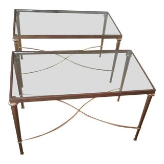 Hollywood Regency Two Matching Gilt Iron and Glass Coffee Tables - a Pair For Sale