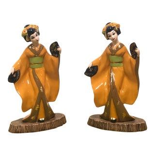 Ceramic Geisha Figurines - a Pair For Sale