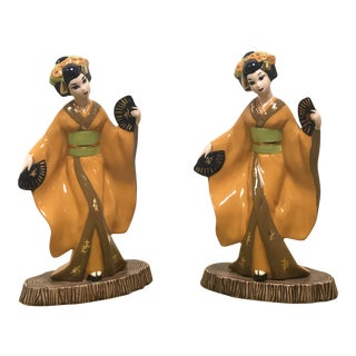 Chinoiserie Ceramic Geisha Figurines - a Pair For Sale
