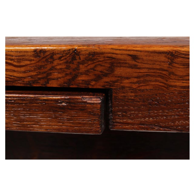 Oak 1920s Marquetry Tudor-Style Dining Table For Sale - Image 7 of 10