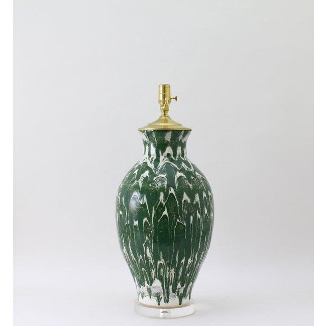 """Paul Schneider Ceramic """"Matagorda"""" Lamp in Drip Banded Forrest Glaze For Sale In Dallas - Image 6 of 7"""