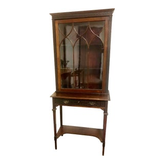 1880s Chippendale Glass Front Mahogany Walnut Bookcase For Sale