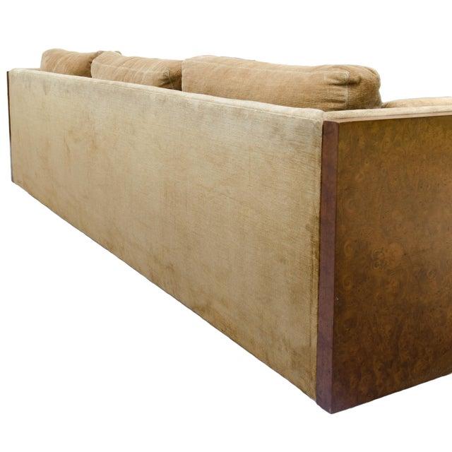 Milo Baughman Style Burl Wood Sofa For Sale - Image 11 of 11