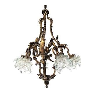 French Bronze-Dore' Art-Nouveau Fixture For Sale