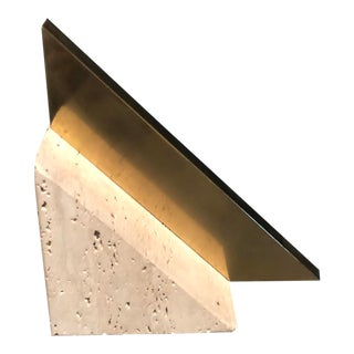 Mid-Century Modern Brass and Travertine Stone Bookend/Paperweight For Sale