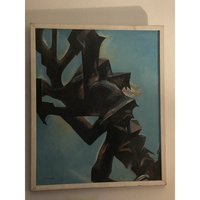 """Modern 1950s """"Hidden Victory"""" Modernist Abstract Painting, Framed For Sale - Image 3 of 3"""